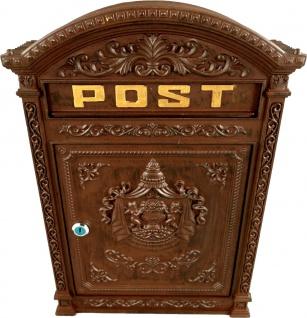 Casa Padrino Jugendstil Wandbriefkasten Post Bronzefarben Gold 45 x 31 cm - Antik Stil Briefkasten Postkasten