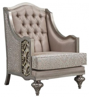 Casa Padrino Luxus Barock Sessel Rosa / Silber - Handgefertigter Barockstil Sessel mit elegantem Muster und dekorativem Kissen - Prunkvolle Barock Wohnzimmer Möbel