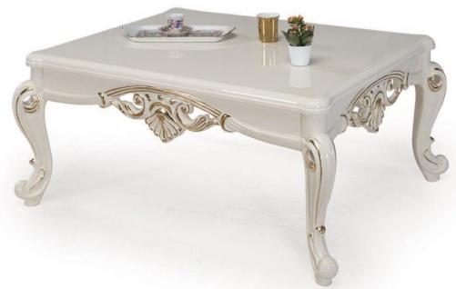 Casa Padrino Luxus Barock Couchtisch Weiß / Gold 115 x 85 x H. 50 cm - Massivholz Wohnzimmertisch im Barockstil - Barock Möbel