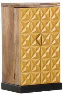Casa Padrino Landhausstil Barschrank mit 2 Türen Naturfarben / Gold / Schwarz 59-117 x 48 x H. 113 cm - Massivholz Weinschrank - Barmöbel im Landhausstil