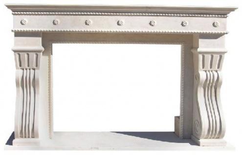 Casa Padrino Luxus Barock Kaminumrandung Weiß 202 x 55 x H. 125 cm - Handgefertigte Kaminumrandung aus hochwertigem Marmor - Kamin Deko Accessoires - Marmor Möbel im Barockstil