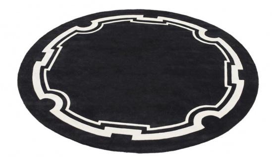 Casa Padrino Luxus Designer Teppich Schwarz / Weiß Durchmesser 280 cm - Limited Edition