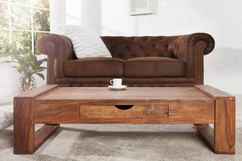 Casa Padrino Designer Massivholz Couchtisch Natur 100 x H. 30 cm - Salon Wohnzimmer Tisch - Vorschau 2