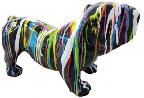Casa Padrino Designer Dekofigur Hund Bulldogge Schwarz / Mehrfarbig 55 x H. 32 cm - Wetterbeständige Deko Skulptur - Wohnzimmer Deko - Garten Deko - Designer Deko Tierfigur