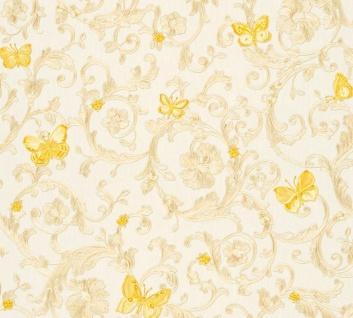 Versace Designer Barock Vliestapete Butterfly Barocco 343251 Creme / Gelb / Gold - Design Tapete - Luxus Qualität