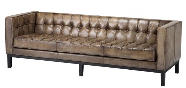 Casa Padrino Luxus Echt Leder Sofa Glasgow Vintage Leder Olive - 3 Sitzer - Luxus Hotel Möbel