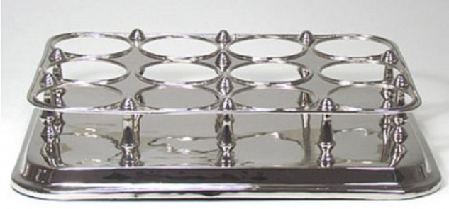 Casa Padrino Luxus Messing Weinflaschenhalter Silber 49 x 37 x H. 10 cm - Hotel & Restaurant Accessoires