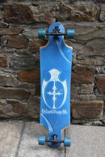Koston Drop Through Longboard Bamboo Cruiser Shield Blau / Weiß 10 x 40.5 inch - Lagerware mit leichten Kratzern