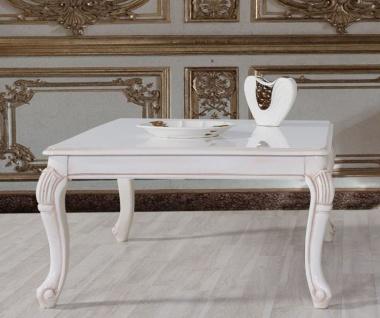 Casa Padrino Barock Couchtisch Weiß / Beige 104 x 80 x H. 45 cm - Massivholz Wohnzimmertisch im Barockstil - Barock Wohnzimmer Möbel