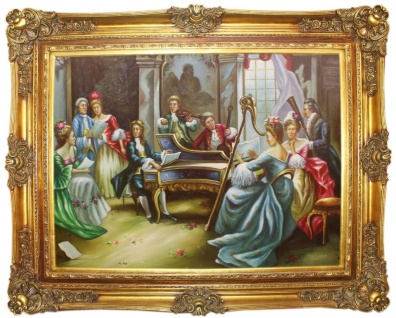 Casa Padrino Barock Ölgemälde Klassische Musik Mehrfarbig / Gold 160 x 10 x H. 130 cm - Handgemaltes Gemälde mit prunkvollem Rahmen im Barockstil - Barock Möbel
