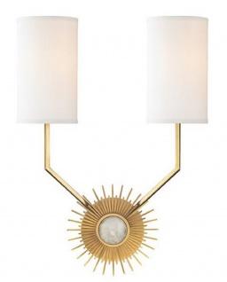 Casa Padrino Designer Wandleuchte Antik Messingfarben / Weiß 33, 6 x 14, 6 x H. 46, 3 cm - Luxus Qualität