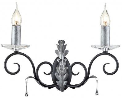 Casa Padrino Barock Doppel Wandleuchte Schwarz / Silber 37 x 19 x H. 38 cm - Elegante Wandlampe mit handgefertigten Stahl Eichenblättern und dekorativen Glastropfen - Wandleuchten im Barockstil