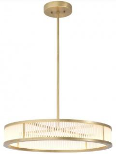 Casa Padrino Luxus LED Kronleuchter Antik Messingfarben / Weiß Ø 70 x H. 15 cm - Moderner runder dimmbarer Kronleuchter - Luxus Qualität