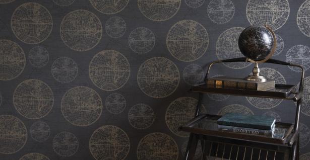 Casa Padrino Luxus Papiertapete Weltkugeln Anthrazit - 10, 05 x 0, 53 m - Edle Mustertapete - Vorschau 2