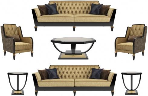 Casa Padrino Luxus Barock Wohnzimmer Set Gold / Schwarz - 2 Sofas & 2 Sessel & 1 Couchtisch & 2 Beistelltische - Wohnzimmermöbel im Barockstil - Edle Barock Möbel