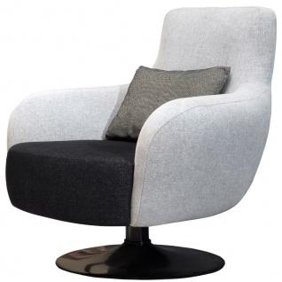 Casa Padrino Luxus Drehsessel Hellgrau / Schwarz 87 x 84 x H. 88 cm - Wohnzimmer Sessel mit dekorativem Kissen - Luxus Wohnzimmer Möbel