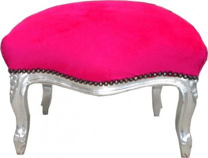 Barock Sitzhocker Pink / Silber Medium - Vorschau 1