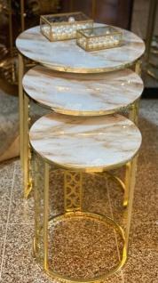 Casa Padrino Luxus Beistelltisch Set Gold / Weiß-Beige - 3 runde Metall Tische mit Marmorplatte - Luxus Wohnzimmer Möbel