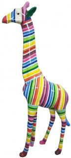 Casa Padrino Designer Deko Giraffe mit Streifen Mehrfarbig H. 205 cm - Riesige Dekofigur - Gartendeko Skulptur - Gartenfigur