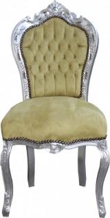 Casa Padrino Barock Esszimmer Stuhl Jadegrün / Silber Antik Look - Möbel Antik Stil
