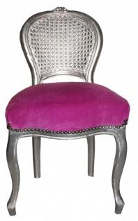 Casa Padrino Barock Damen Stuhl Lila / Silber Schminkstuhl
