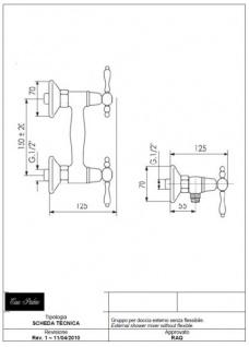Luxus Bad Zubehör - Jugendstil Retro Brausebatterie ohne flexiblen Anschlussschlauch - Armatur für Badewanne - Chrom - Serie Milano - Made in Italy - Vorschau 2