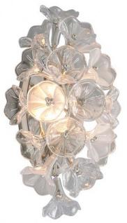 Casa Padrino Designer LED Wandleuchte Silber 22, 9 x 17, 8 x H. 45 cm - Metall Leuchte mit hangefertigtem Glas im Blumendesign - Luxus Kollektion