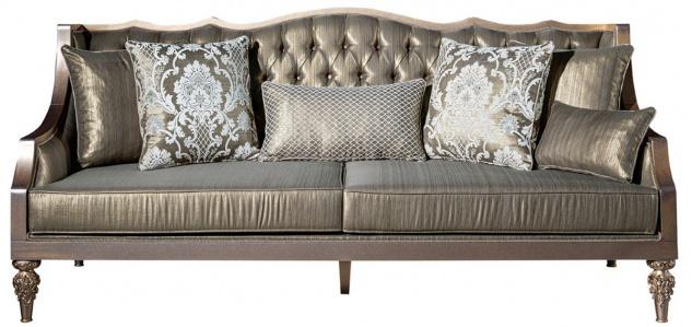 Casa Padrino Luxus Barock Wohnzimmer Set Grün / Silber / Kupfer / Gold - 2 Sofas & 2 Sessel & 1 Couchtisch - Wohnzimmer Möbel im Barockstil - Edel & Prunkvoll - Vorschau 2
