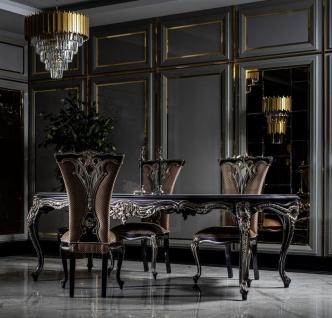 Casa Padrino Luxus Barock Esszimmer Set Weiß / Lila / Gold - 1 Esstisch & 6 Esszimmerstühle - Prunkvolle Barock Esszimmer Möbel