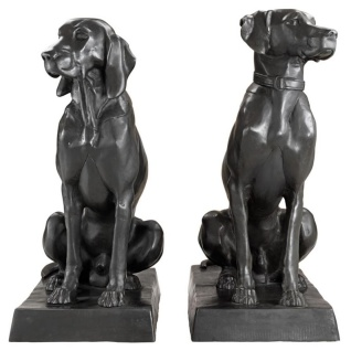 Casa Padrino Luxus Bronzefiguren 2er Set Hunde 32 x 60 x H. 73 cm - Limited Edition