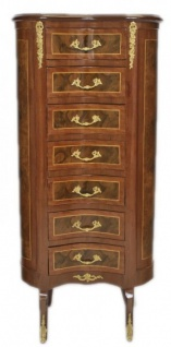 Casa Padrino Barock Kommode Mahagoni / Gold mit 7 Schubladen Oval - Antik Stil