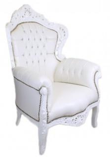 Casa Padrino Barock Sessel King Weiß Lederoptik mit Bling Bling Glitzersteinen - Luxus Barock Möbel