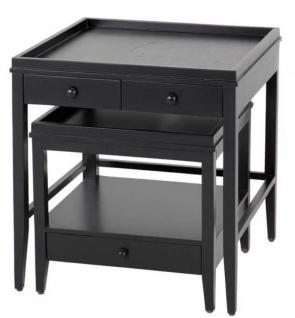 Casa Padrino Beistelltisch 2er Set schwarz - Luxus Möbel