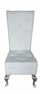 Casa Padrino Barock Esszimmer Stuhl Weiß Lederoptik - Designer Stuhl - Luxus Qualität Hochlehnstuhl