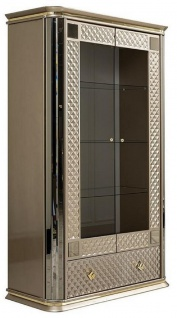 Casa Padrino Luxus Art Deco Vitrine Beige / Gold - Handgefertigter Massivholz Vitrinenschrank mit 2 Türen und Schublade - Edle Art Deco Möbel