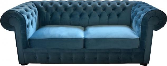 Casa Padrino Chesterfield 2er Sofa in Blau 160 x 90 x H. 78 cm - Luxus Chesterfield Sofa - Vorschau 1