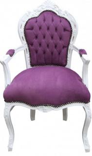 Casa Padrino Barock Esszimmer Stuhl mit Armlehnen Lila / Weiß