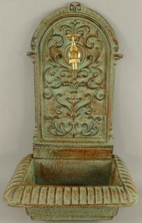 Casa Padrino Jugendstil Wandbrunnen Hellgrün / Rostfarben 36 x 24 x H. 65 cm - Nostalgischer Gartendeko Brunnen mit Wasserhahn - Garten Accessoires
