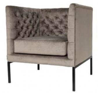 Casa Padrino Luxus Chesterfield Samt Sessel Grau / Schwarz 75 x 67 x H. 83 cm - Chesterfield Möbel