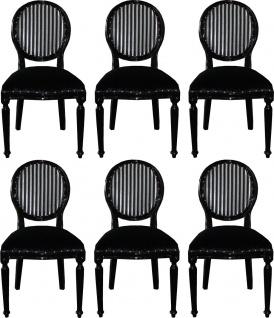 Casa Padrino Luxus Barock Esszimmer Set Medaillon Schwarz / Silber 50 x 52 x H. 99 cm - 6 handgefertigte Esszimmerstühle - Barock Esszimmermöbel