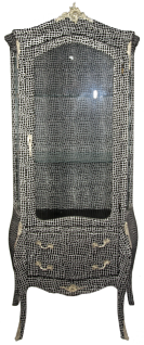 Casa Padrino Barock Vitrine Schwarz / Silber 72 x 45 x H. 184 cm - Handgefertigter Vitrinenschrank mit Glastür und 2 Schubladen - Barock Wohnzimmer Möbel