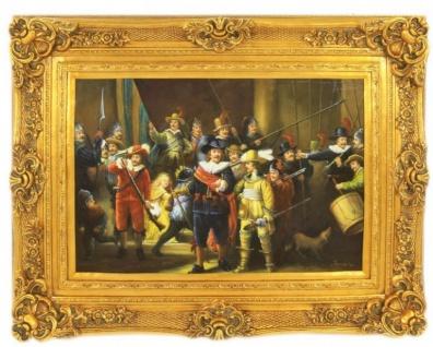 Handgemaltes Barock Öl Gemälde Rembrandt Nachtwache Prunk Rahmen 130 x 100 x 10 cm - Massives Material - Versailles