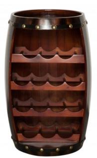 Casa Padrino Bar Weinschrank Bartisch aus Tanne Massivholz für 14 Flaschen - Holzfaß Weinfaß Faßmöbel Faßschrank Hotel & Restaurant Einrichtung Möbel Tisch
