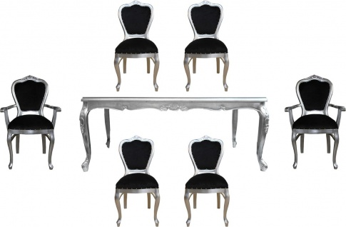 Casa Padrino Luxus Barock Esszimmer Set Schwarz / Silber - 1 Esstisch mit Glasplatte und 6 Stühle - Barock Esszimmermöbel - Made in Italy - Luxury Collection