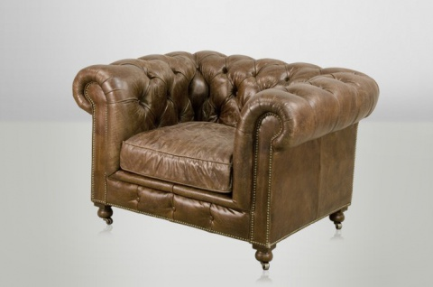 Chesterfield Luxus Echt Leder Sessel Vintage Leder von Casa Padrino Cigar - Club Sessel