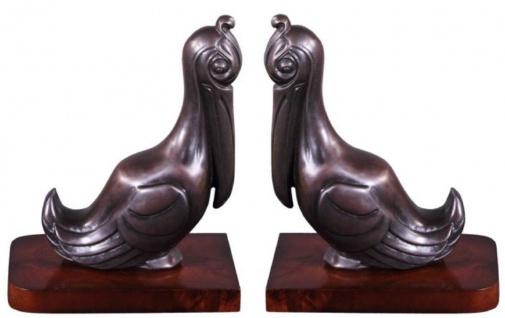 Casa Padrino Luxus Buchstützen Set Pelikane Bronze / Braun 18 x 12 x H. 22 cm - Deko Bronzefiguren mit Holzsockel - Vorschau 4