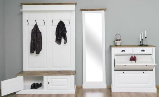 Casa Padrino Landhausstil Massivholz Garderobenmöbel Set Weiß / Braun - Garderobenschrank - Spiegel - Schuhschrank - Möbel im Landhausstil - Vorschau 2