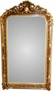 Casa Padrino Barock Wandspiegel Altweiß / Gold Antik-Look H 159 cm x B 89 cm - Edel & Prunkvoll Spiegel