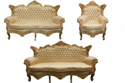 Casa Padrino Barock Wohnzimmer Set Gold Muster/ Gold - 3er Sofa+2er Sofa + 1 Sessel