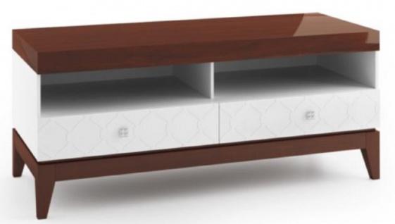 Casa Padrino Luxus Sideboard mit 2 Schubladen Weiß / Hochglanz Braun 111, 2 x 45 x H. 49 cm - Wohnzimmermöbel